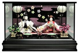 雛人形 ひな人形 親王ケース飾り 黒塗ガラスケース 桜ラメバック おしゃれ