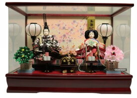 雛人形 ひな人形 親王ケース飾り ワイン塗パノラマアクリルケース 桜バック おしゃれ