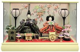 ひな人形 親王ケース飾り クリーム塗ケース 桜手毬刺繍バック おしゃれ