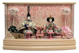 雛人形 ひな人形 親王ケース飾り ピンク塗パノラマアクリルケース 桜バック オルゴール付 おしゃれ