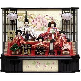 【25日限定楽天カード決済でP10倍】 雛人形 ひな人形 雛 ケース飾り 黒塗り六角パノラマケース 五人ケース飾り 小三五5人 おしゃれ