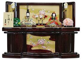雛人形 収納飾り 木目込人形 親王飾り ワイン収納箱扇桜刺繍 おしゃれ