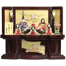 雛人形 収納飾り コンパクト 木目込人形 五人飾り ワイン収納箱扇桜刺繍 おしゃれ