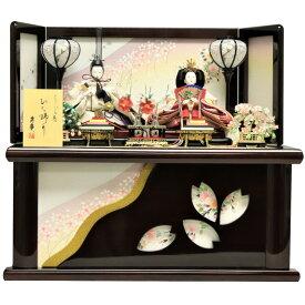雛人形 ひな人形 収納飾り 衣装着人形 親王飾り 桜雫 ワイン塗桐収納箱 おしゃれ