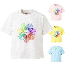 *レインボーカラーリーフプリント* 半袖Tシャツ キッズ100・110・120・130・140サイズ【tk114】
