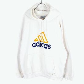 【中古】(KO) ADIDAS(アディダス)90'S MADE IN USA LOGO SWEAT HOODIE 90年代 USA製 ロゴ スウェット パーカー WHITE [SIZE:L USED]