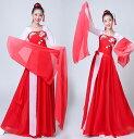 二点送料無料 白赤配色古典ダンスウエア 振袖古典舞踊練習着 ロングワンピース チャイナ風民族ダンス衣装 シフォ…