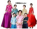中華服 七分袖ブラウス+ロングスカート二点セット チャイナドレス 中国風ブライド ドレス フォマール パーティー…