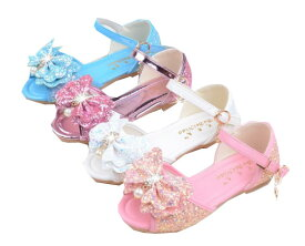 キッズお姫様靴 子供女の子サンダル スパンコールフォマール靴 ローヒール 可愛い蝶リボン 結婚式パーティーフォマールシューズ きらきらダンスシューズ 二枚送料無料