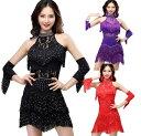 5色 レディースラテンダンス衣装 タッセルフリンジワンピース 袖カバー スパンコールきらきらモダンドレス レー…