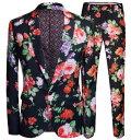 メンズ花柄スーツセット パンツスーツ上下2点セット 黒地に大きな花柄 総柄 派手な紳士服 メンズ舞台ダンス衣装…