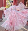 中華風豪華チャイナドレス4点セット ピンク系中国伝統古典唐装漢服 中華コスプレ衣装 イベント演出衣装 二次元宮…