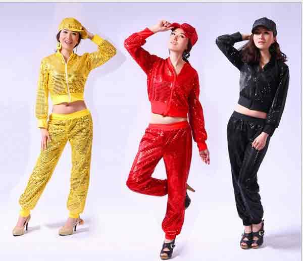 全品二点送料無料/ダンス衣装上下セットレディースジャズトップス+ボトムスパーカパンツ2点セット ステージ衣装 舞台 演出団服 ダンス衣装 現代スパンコール付き ヒップホップダンスウェアjazz帽子なし