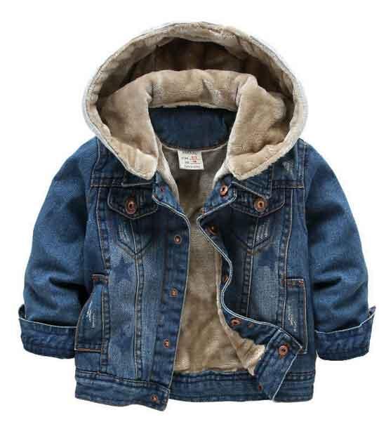2枚送料無料!子供用デニムジャケット 裏起毛厚手防寒デニムコート Gジャン キッズファッション 帽子取り外し可能 ファー 暖かい