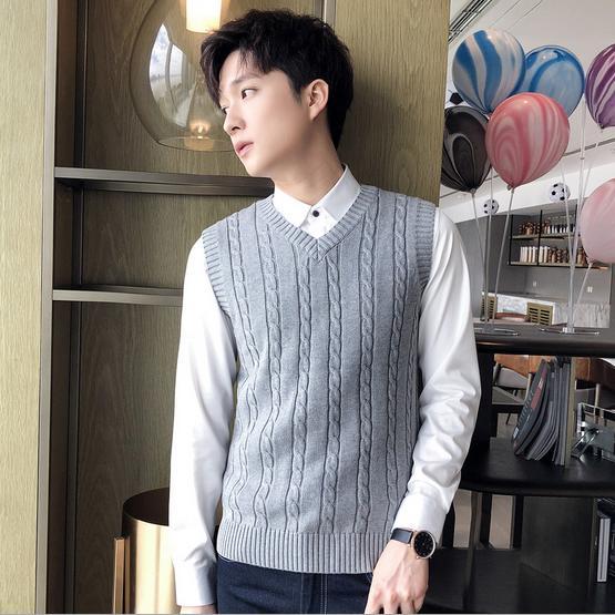 二点送料無料/韓国ファッションメンズ無地Vネック春秋冬用ニットセーター