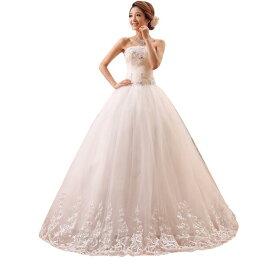 ロングウェディングドレス豪華なウェディングドレス結婚式パーティー披露宴 フォマールドレス二次会フリルドレス 写真撮影素敵なドレス 演出服 パニエベールグローブ ドレスカバー対応可