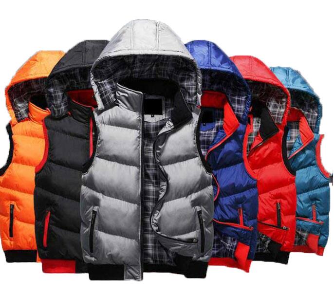 二点送料無料/秋冬メンズ中綿ベスト/フード取り外し可能/暖かい袖なし綿入りジャケット/軽量防寒チョキ/細身スリムブルゾン/ダウンベスト/5色