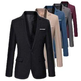二点送料無料/春秋メンズスーツジャケット カジュアル 長袖一つボタン テーラードジャケット お兄系 コート6色 フォーマル ビジネス 通勤