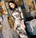 送料無料 ロングチャイナドレス 春秋冬用 五分袖優雅なチャイナ服 シックな小花柄 穏やかなロング中華ドレス 中…