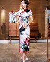 新作ロングチャイナドレス 水墨風白赤大きい花柄 穏やかな中華服 チャイナ服 中国風フォマールドレス 中国風古典…