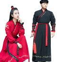 二枚送料無料 オリジナル男女兼用漢服唐装 2色 赤黒チャイナドレス メンズ漢服 華流ステージ舞台衣装 中国風古…