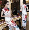 二点送料無料 白地に艶やか花柄チャイナドレス 大きな牡丹花柄 明るい 中国風フォマールドレス 唐装漢服 古典ダ…