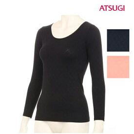 38%OFF アツギ【ATSUGI】インナーシャツ 長袖 48141NS Warm Keep ウォームキープ リボンダイヤ柄 8分袖 インナー Uネック