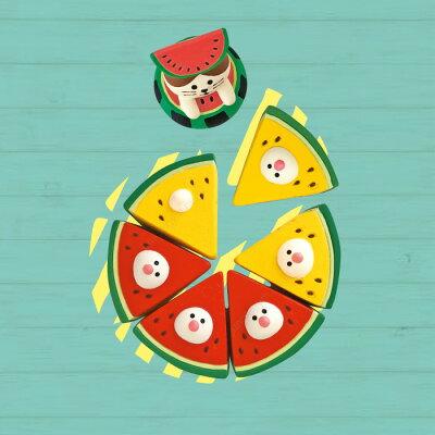 デコレコンコンブルdecoleconcombreイカススイカ天国赤と黄色のスイカ文鳥セット