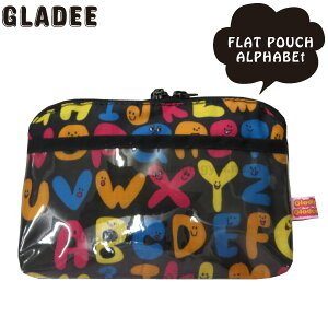 グラディー gladee フラットポーチ : アルファベット かわいい ペンケース ペンポーチ 筆箱 ナイロン製 ファスナー開閉 ファスナー式 ファスナー 大容量 大 ビッグサイズ ビッグ 小学生 中学生