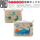 ピリエ PILIER スクエアショート ダイナソー ( 収納ボックス 収納 ケース ランドリーバッグ 布製 恐竜柄 きょうりゅう 折りたたみ 巾着…
