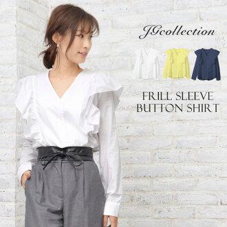 Frill shirt tops shirt blouse frill shirt feminine feminine white navy yellow Shin pull Lady's JG collection JG Collection tops adult fashion Lady's