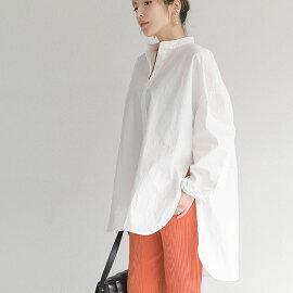 【送料無料】2typeサイドリボンバンドカラーシャツレディース春夏スタンドカラーブラウス長袖綿混2タイプ紐サイド白ホワイトFフリー