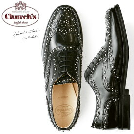 【送料無料】チャーチChurch's レディース オックスフォード エナメル おじ靴 レースアップ スタッズ Burwood Met Black Polished Binder メタル スタッズ がぎっしり施された モード デザイン 上質レザー