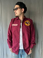【NORTH NO NAME】ノースノーネーム WOLVES WORK SHIRT (BURGUNDY) ワークシャツ