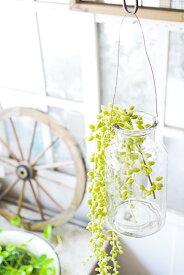 【フラワーベース ガラスベース 花瓶 ハンギング インテリア 雑貨 ガラスボトル アンティーク調 アンティーク風】ワイヤーボトルグラス M