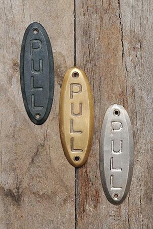 【ドア ハンドル 取っ手 サインプレート ドアサイン ドアプレート 真鍮 アンティーク調 アンティーク風】ソリッドブラス オーバルサイン プル