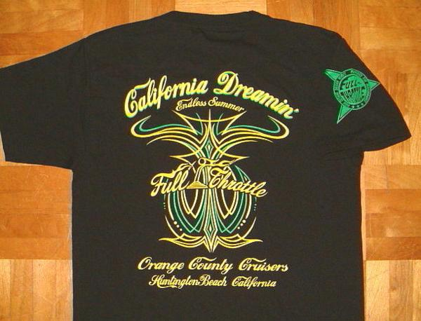 セール出品です! FULL THROTTLE/フルスロットル コットン生地 ホットロッド柄 半袖 Tシャツ ≪CALIFORNIA DREAMIN'≫ (BLACK×GREEN) ピンストライプ バイカー ローライダー チカーノ アメ車 ブラック グリーン 黒 緑 ジャマイカンカラー ラスタカラー メンズ