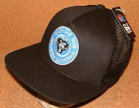 【CHIPPS COMPANY チップスカンパニー】 PEACE CAP ピースキャップ アメカジ フラットバイザー ニューエラ キャップ スタイル 刺繍 ワッペン付き メッシュキャップ (BLACK×BLACK) ベースボールキャップ 帽子 NEWERA CAP ヒップホップ バイカー ホットロッド 黒