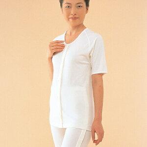 【介護用】 【介護肌着】マジック式前開きシャツ5分袖 オフホワイト LLサイズ (婦人用)【綿100%】【丸首】【介護衣料】【1点までDM便可】 (No.51)