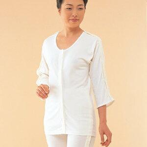 【介護用】 【介護肌着】 前開きシャツ 両肩腕開き7分袖 オフホワイト M~Lサイズ(婦人用)【綿100%】【丸首】【介護衣料】【1点までDM便可】 (NO.53)