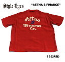 """No.SE37551 STYLE EYES スタイルアイズROYON BOWLING SHIRTW/CHAIN EMB'D""""AETNA $ FINANCE"""""""