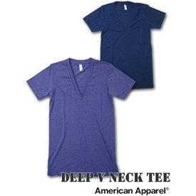 American Apparel (アメリカンアパレル)Deep VネックTシャツ [T-ORCHID/T-INDIGO/A.グレー]【TR456 アメアパ men's メンズ インナー カットソー TANKTOP Vネック Tシャツ ティーシャツ 無地 半袖 下着 アンダーウエア あす楽】