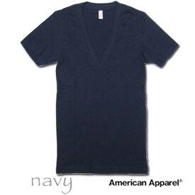 American Apparel (アメリカンアパレル)Deep VネックTシャツ [ネイビー/ブラック/ライトピンク/チャコール]【6456 アメアパ men's メンズ インナー カットソー TANKTOP Vネック Tシャツ ティーシャツ 無地 半袖 下着 アンダーウエア あす楽】
