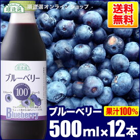 送料無料 果汁100% ブルーベリー 100 500ml×12本入りセット 順造選 無添加 ストレート ブルーベリージュース 100%