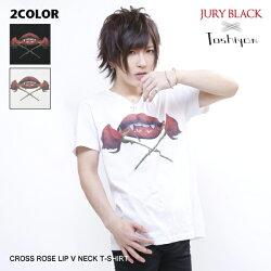 JURYBLACK×としやんコラボCROSSROSELIPVネックTシャツ