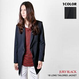 【 10%OFF 18,000円→16,200円 】JURY BLACK (ジュリーブラック) 1B ロングテーラードジャケット 日本製【送料無料 ジャケット メンズ キレイめ ブラック 黒 フォーマル スーツ地 メンズファッション 無地 シンプル きれいめ モード】