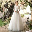 パーティードレス 結婚式ドレス 袖あり 格安 ウエディングドレス 二次会ドレス ロングドレス Vネック ゲストドレス 透…