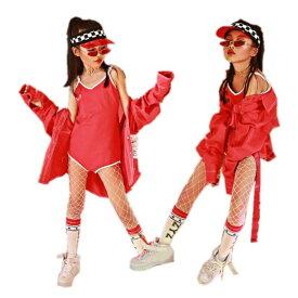 キッズダンス衣装 キッズ ダンス 衣装 ヒップホップ 衣装 子供衣装 女の子 赤 ジャケット デニムシャツ ダンストップス 子供 男の子 ジャズ ジュニア 練習着