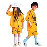 ダンス衣装ヒップホップ女の子男の子半袖ガールズハーフパンツジャッズパーカーセットアップキッズダンスウェアジュニアサルエルパンツ短パンオシャレ