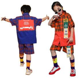 キッズダンス衣装 チェック衣装 セットアップ 半袖tシャツ 子供 ダンス衣装 上下セット 短パン 体操 ジャズ かっこいい 男の子 女の子 セール 110〜170cm